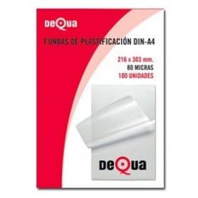 Caja 100 fundas plastificación Dequa A4 80mic