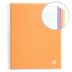 Cuaderno A4 polipropileno Miquelrius 140 hojas naranja