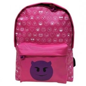 Mochila emoticon world demonio rosa