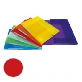 Carpeta 3 solapas Dequa Plástico translúcido roja