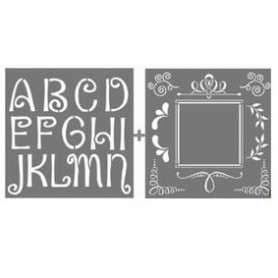 Kit plantillas Stencil 2 ABC y orla PYI-102