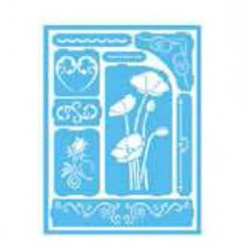 Plantilla Stencil adhesiva 15x20 cm Amapolas