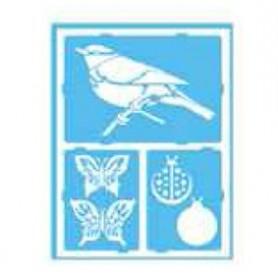 Plantilla Stencil adhesiva 15x20 cm Mariposa/pájaro