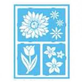 Plantilla Stencil adhesiva 15x20 cm Flores