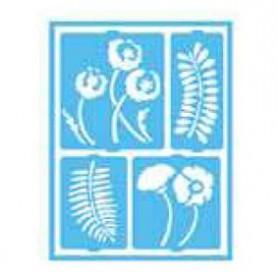 Plantilla Stencil adhesiva 15x20 cm Flores/Helechos