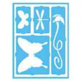 Plantilla Stencil adhesiva 15x20 cm Mariposas/libélulas