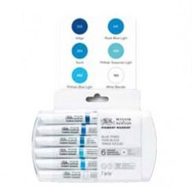 Winsor & Newton Pigment marker Set 6 tonos azules