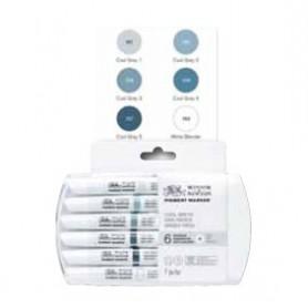 Winsor & Newton Pigment marker Set 6 grises frios