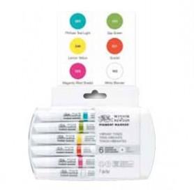 Winsor & Newton Pigment marker Set 6 tonos vibrantes