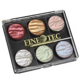 Caja Acuarela Finetec 6 colores perlados 23 mm