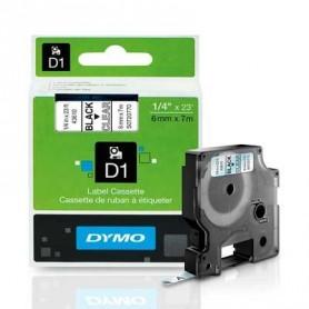 Cinta D1 6 mm Dymo negro sobre transparente