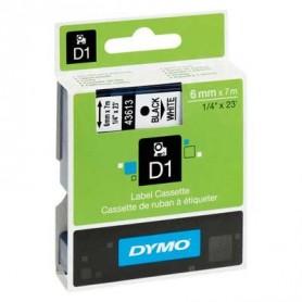 Cinta D1 6 mm Dymo negro sobre blanco