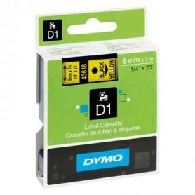 Cinta D1 6 mm Dymo negro sobre amarillo