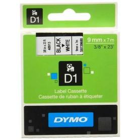 Cinta D1 9 mm Dymo negro sobre blanco