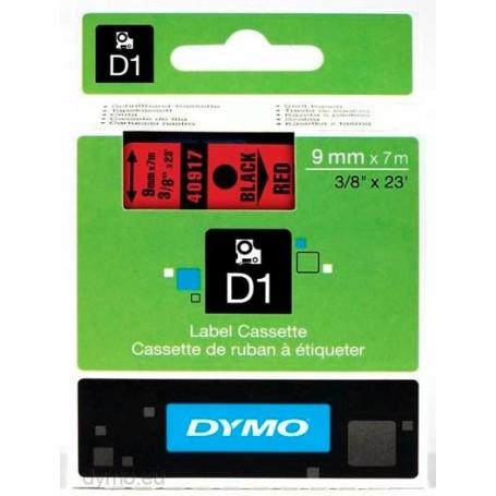Cinta D1 9 mm Dymo negro sobre rojo