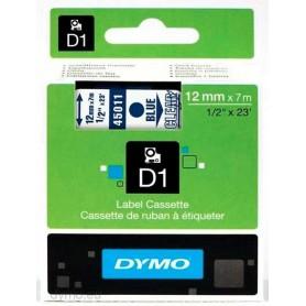 Cinta D1 12 mm Dymo azul sobre transparente