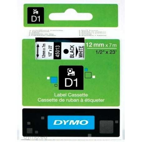 Cinta D1 12 mm Dymo negro sobre blanco