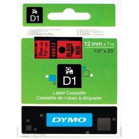 Cinta D1 12 mm Dymo negro sobre rojo