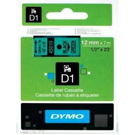 Cinta D1 12 mm Dymo negro sobre verde