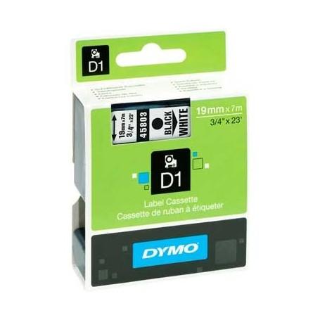 Cinta D1 19 mm Dymo negro sobre blanco