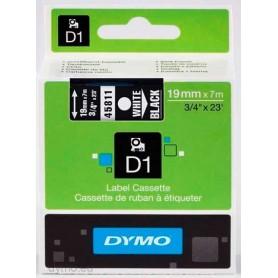 Cinta D1 19 mm Dymo blanco sobre negro