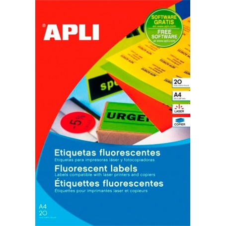 Etiquetas Apli Colores Flúor 64 x 33,9 mm