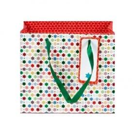Bolsa Pequeña de Regalo Navidad Rojo y Estrellas Colores, Artebene