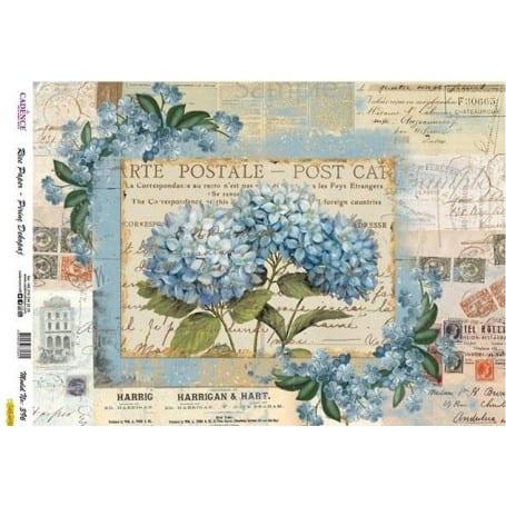 Papel arroz 396 Hortensias Azul Cadence