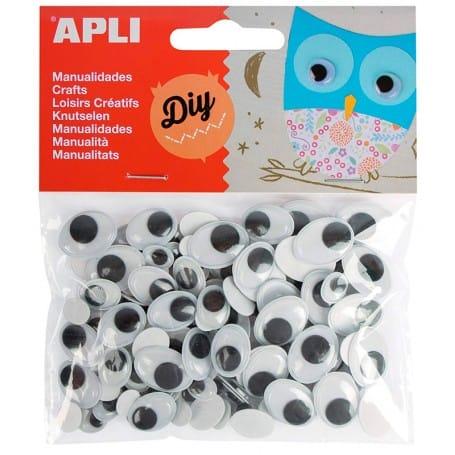 Ojos Móviles Ovalados Adhesivos, Apli