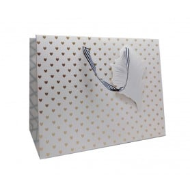 Bolsa Regalo Corazones Dorados 30x22x11 cm