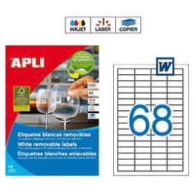 Etiquetas Apli 3053 Removibles 48,5 x 16,9 mm