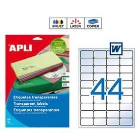 Etiquetas Apli transparentes Medidas 48,5 x 25,4 mm