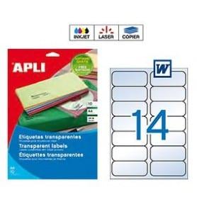 Etiquetas Apli transparentes Medidas 99,1 x 38,1 mm