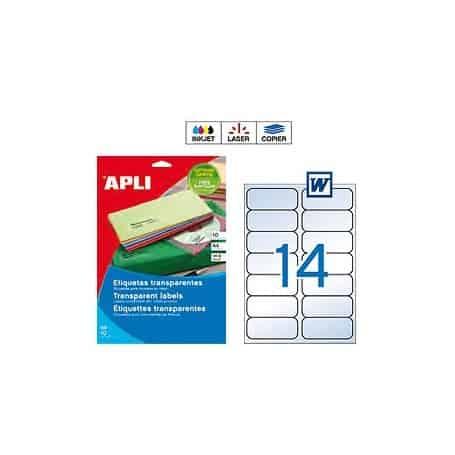 Etiquetas Apli 10052 Transparentes Medidas 99,1 x 38,1 mm
