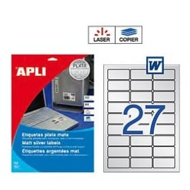 Etiquetas Apli 10070 Poliéster Plata 63,5 x 29,6 mm