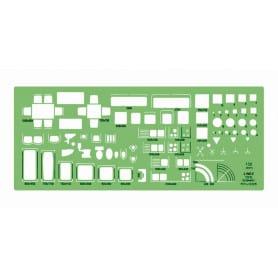 Plantilla cocinas, sanitatrios Linex 1231S Escala 1:50