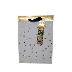 Bolsa Regalo Blanco Estrellas Doradas