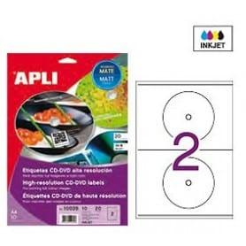 Etiquetas blancas CD DVD Apli Mate