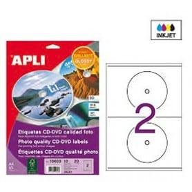 Etiquetas blancas CD DVD Apli Brillante