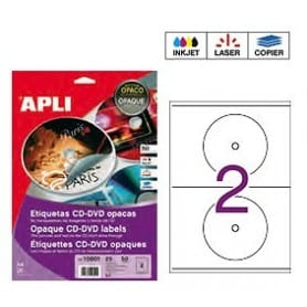 Etiquetas blancas CD DVD Apli Opacas