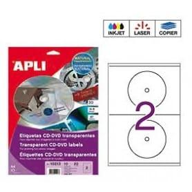 Etiquetas blancas CD DVD Apli Transparentes