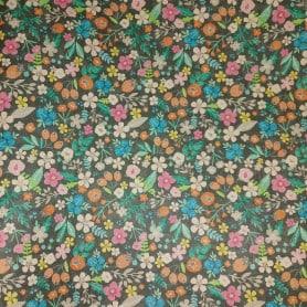 Papel Regalo Gris con Flores de Colores