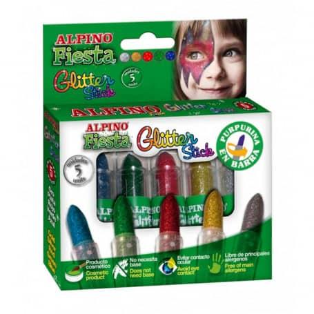 Set Barras Maquillaje con Glitter 5 Colores Alpino