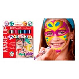 Set Maqujillaje Barra 6 Colores Metálicos Playcolor