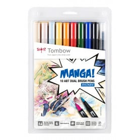 Dual Brush Manga Shonen Set 10 Rotuladores Tombow