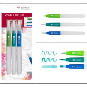 Pincel con Depósito para Agua Set 3 uds Tombow