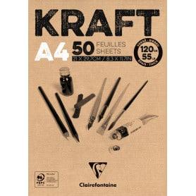 Bloc Encolado Kraft 50 hojas 90 gr Clairefontaine