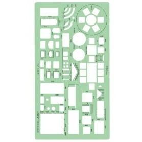 Plantilla casa, cocina, muebles Linex 1132S Escala 1:200