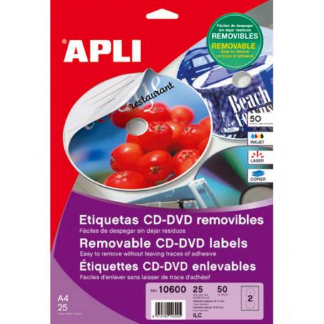 Etiquetas CD DVD Removibles Apli